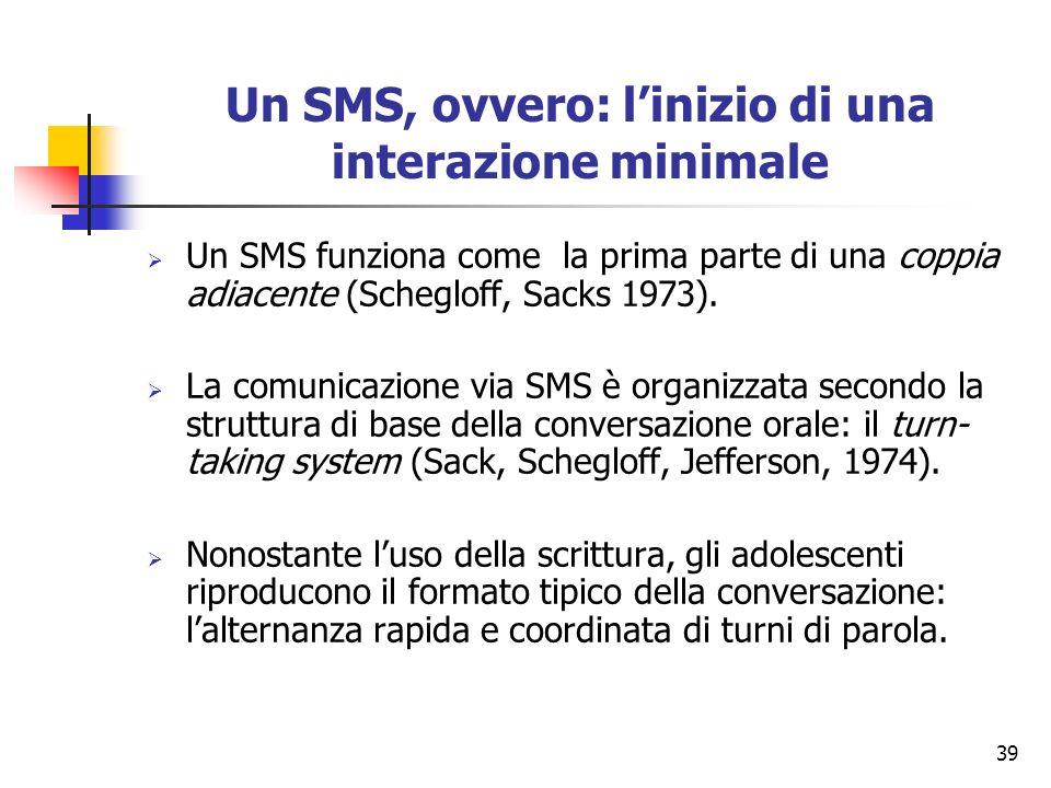 39 Un SMS, ovvero: linizio di una interazione minimale Un SMS funziona come la prima parte di una coppia adiacente (Schegloff, Sacks 1973). La comunic