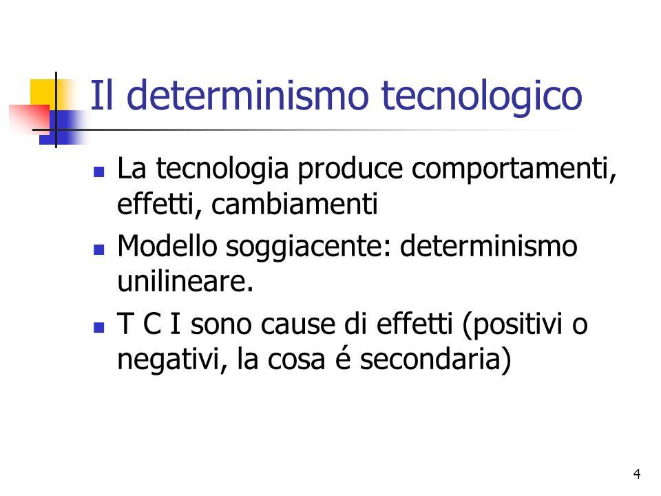 4 Il determinismo tecnologico La tecnologia produce comportamenti, effetti, cambiamenti Modello soggiacente: determinismo unilineare. T C I sono cause
