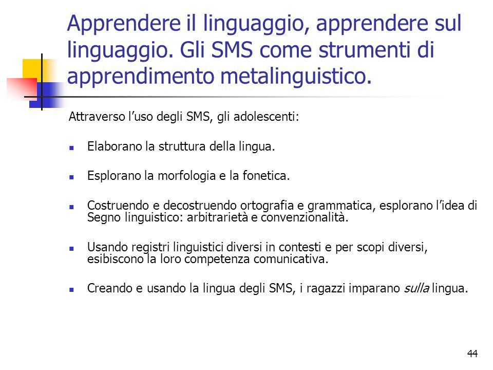 44 Apprendere il linguaggio, apprendere sul linguaggio. Gli SMS come strumenti di apprendimento metalinguistico. Attraverso luso degli SMS, gli adoles