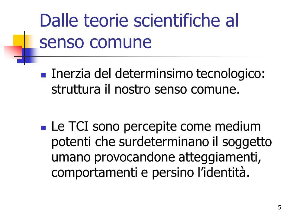 5 Dalle teorie scientifiche al senso comune Inerzia del determinsimo tecnologico: struttura il nostro senso comune. Le TCI sono percepite come medium