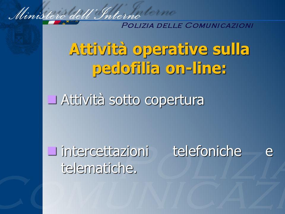 Attività sotto copertura Attività sotto copertura intercettazioni telefoniche e telematiche. intercettazioni telefoniche e telematiche. Attività opera