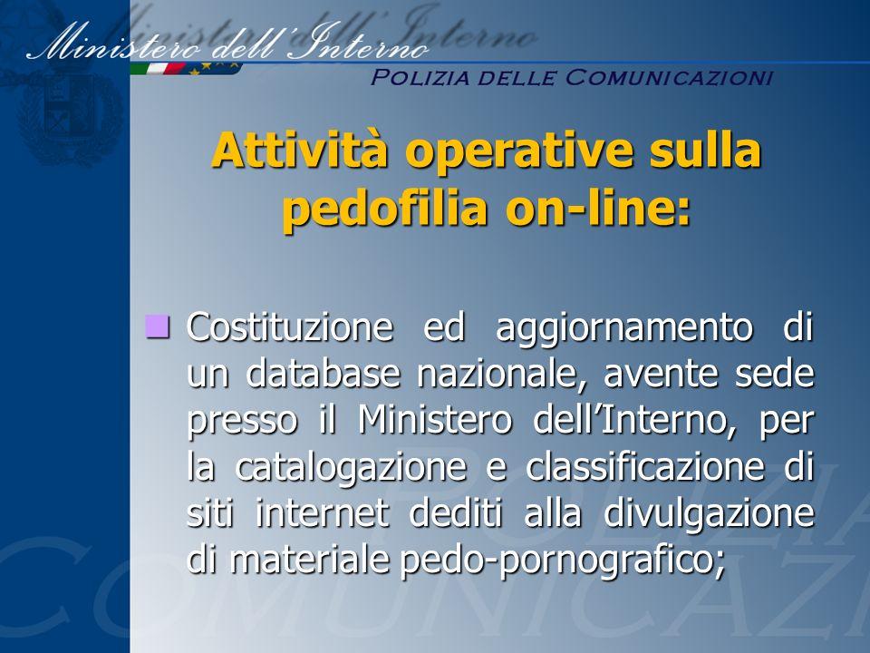 Costituzione ed aggiornamento di un database nazionale, avente sede presso il Ministero dellInterno, per la catalogazione e classificazione di siti in