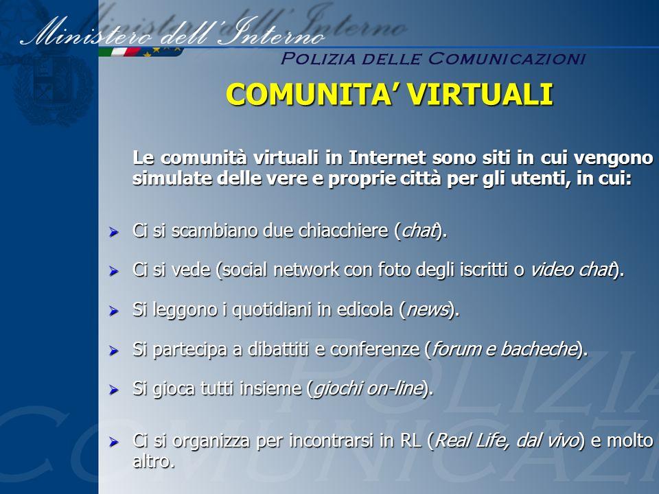 Le comunità virtuali in Internet sono siti in cui vengono simulate delle vere e proprie città per gli utenti, in cui: Ci si scambiano due chiacchiere