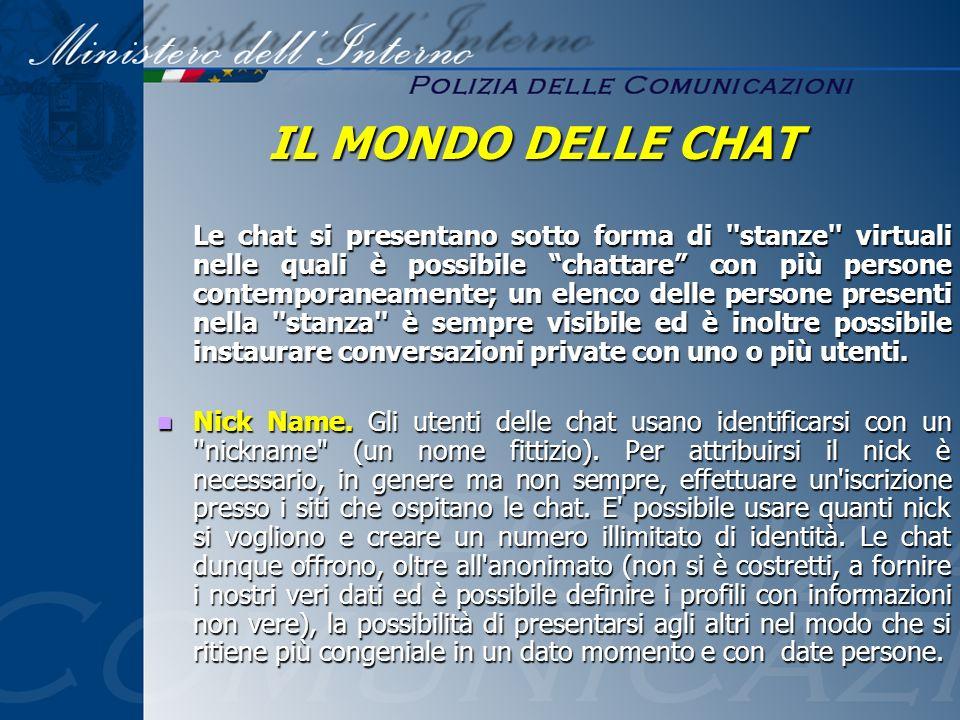 Le chat si presentano sotto forma di ''stanze'' virtuali nelle quali è possibile chattare con più persone contemporaneamente; un elenco delle persone