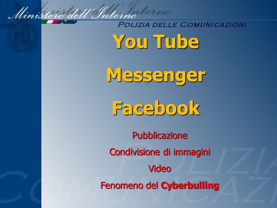 Pubblicazione Condivisione di immagini Video Fenomeno del Cyberbulling You Tube MessengerFacebook