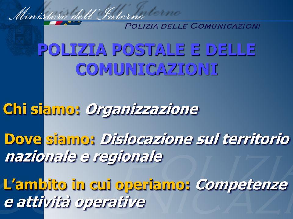 Chi siamo: Organizzazione Lambito in cui operiamo: Competenze e attività operative POLIZIA POSTALE E DELLE COMUNICAZIONI Dove siamo: Dislocazione sul