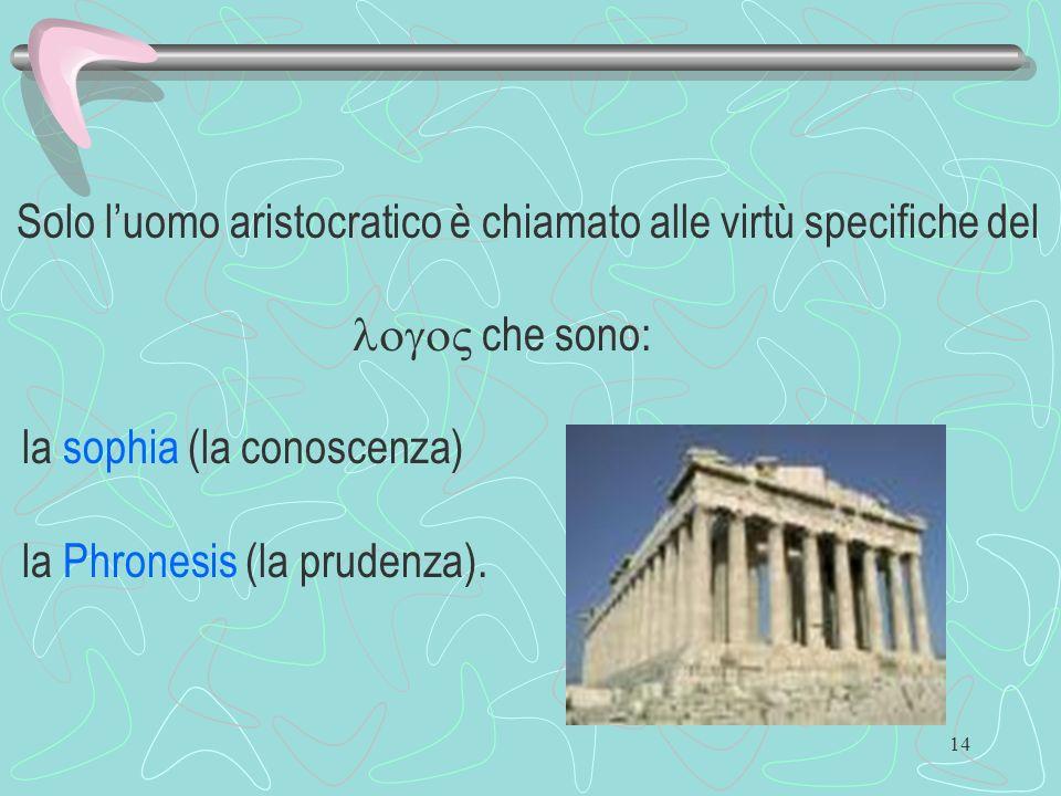 14 Solo luomo aristocratico è chiamato alle virtù specifiche del che sono: la sophia (la conoscenza) la Phronesis (la prudenza).