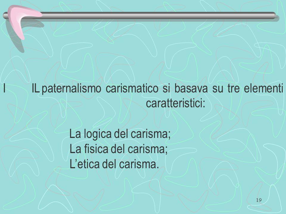19 I IL paternalismo carismatico si basava su tre elementi caratteristici: La logica del carisma; La fisica del carisma; Letica del carisma.
