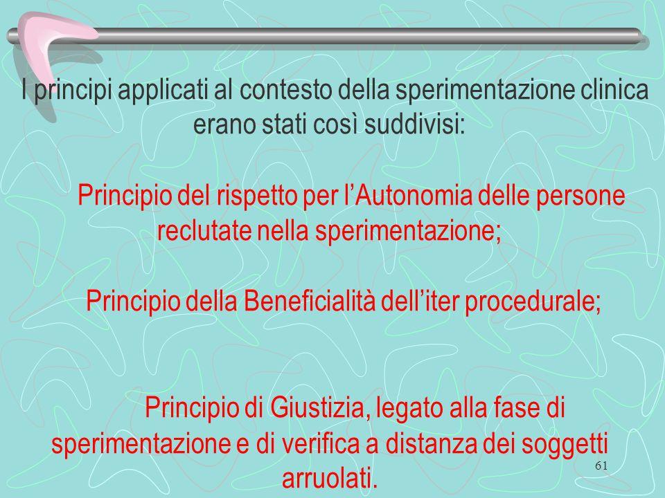 61 I principi applicati al contesto della sperimentazione clinica erano stati così suddivisi: Principio del rispetto per lAutonomia delle persone recl