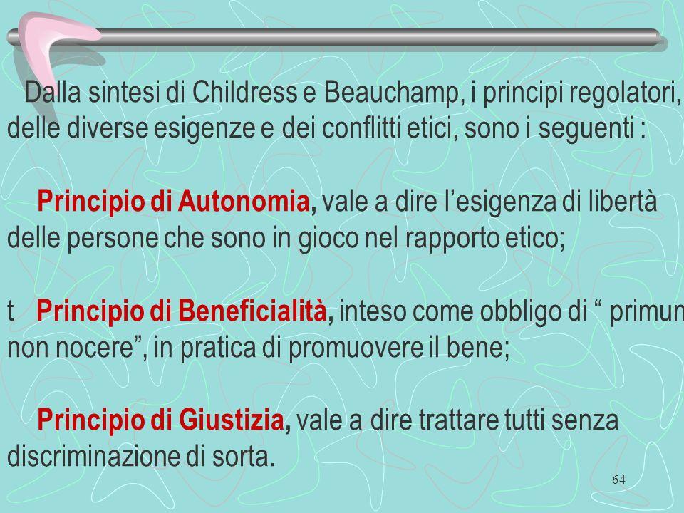 64 Dalla sintesi di Childress e Beauchamp, i principi regolatori, delle diverse esigenze e dei conflitti etici, sono i seguenti : Principio di Autonom