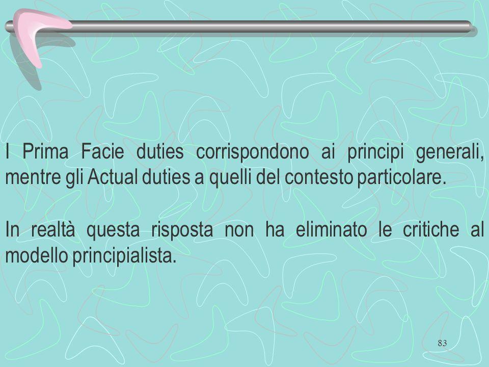 83 I Prima Facie duties corrispondono ai principi generali, mentre gli Actual duties a quelli del contesto particolare. In realtà questa risposta non