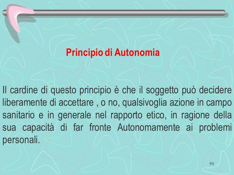 90 Principio di Autonomia Il cardine di questo principio è che il soggetto può decidere liberamente di accettare, o no, qualsivoglia azione in campo s
