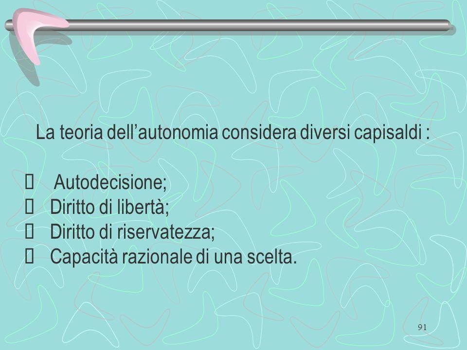 91 La teoria dellautonomia considera diversi capisaldi : Autodecisione; Diritto di libertà; Diritto di riservatezza; Capacità razionale di una scelta.