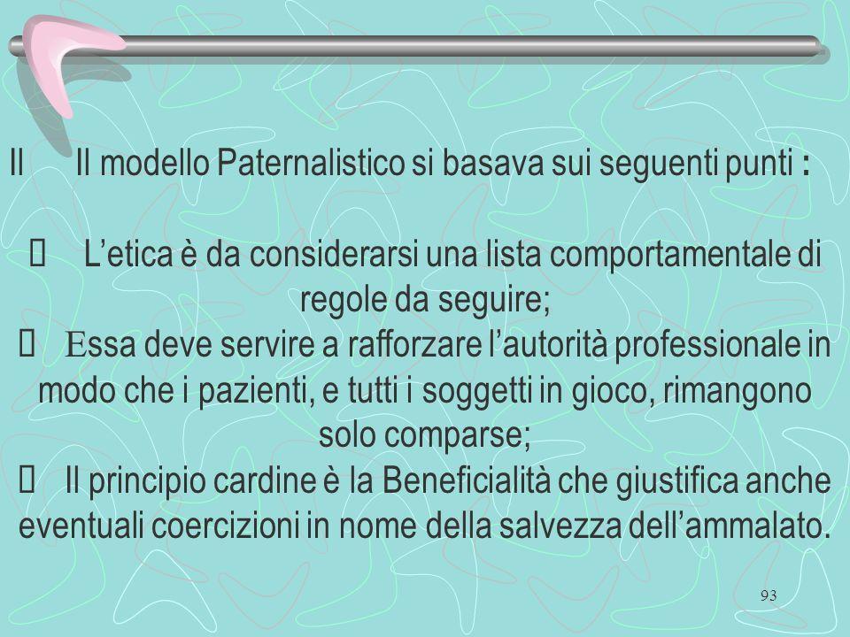 93 Il modello Paternalistico si basava sui seguenti punti : Letica è da considerarsi una lista comportamentale di regole da seguire; E ssa deve servir
