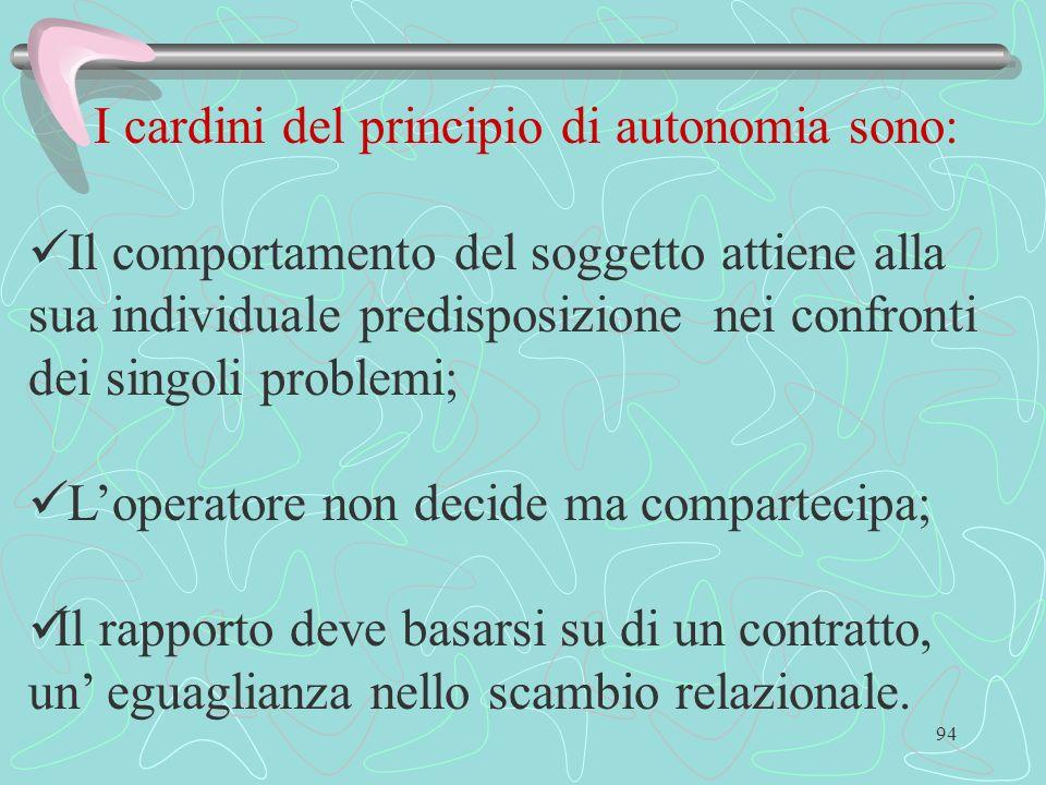 94 I cardini del principio di autonomia sono: Il comportamento del soggetto attiene alla sua individuale predisposizione nei confronti dei singoli pro