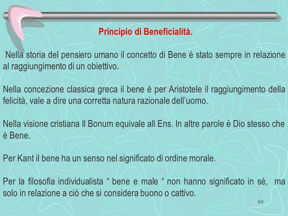 99 Principio di Beneficialità. Nella storia del pensiero umano il concetto di Bene è stato sempre in relazione al raggiungimento di un obiettivo. Nell