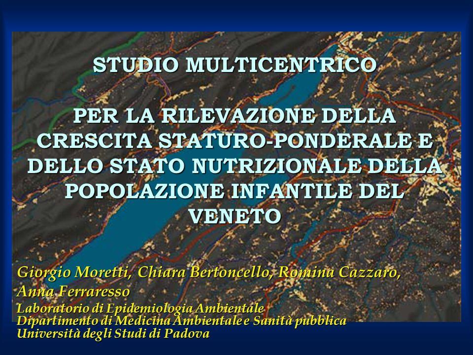 STUDIO MULTICENTRICO PER LA RILEVAZIONE DELLA CRESCITA STATURO-PONDERALE E DELLO STATO NUTRIZIONALE DELLA POPOLAZIONE INFANTILE DEL VENETO Giorgio Mor