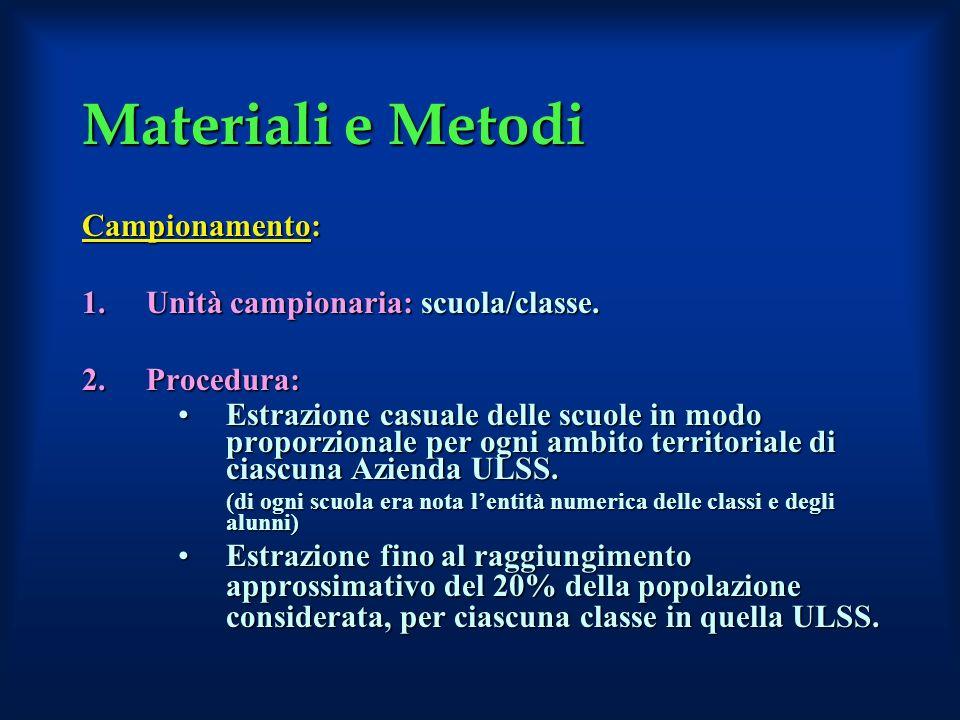 Materiali e Metodi Campionamento: 1.Unità campionaria: scuola/classe. 2.Procedura: Estrazione casuale delle scuole in modo proporzionale per ogni ambi