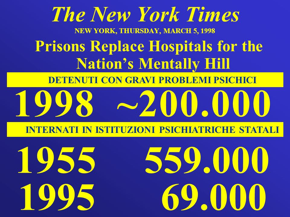 The New York Times NEW YORK, THURSDAY, MARCH 5, 1998 Prisons Replace Hospitals for the Nations Mentally Hill 1955 559.000 1995 69.000 INTERNATI IN IST