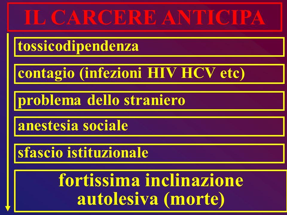 fortissima inclinazione autolesiva (morte) IL CARCERE ANTICIPA tossicodipendenza contagio (infezioni HIV HCV etc) problema dello straniero anestesia s