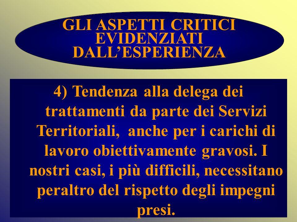 GLI ASPETTI CRITICI EVIDENZIATI DALLESPERIENZA 4) Tendenza alla delega dei trattamenti da parte dei Servizi Territoriali, anche per i carichi di lavor