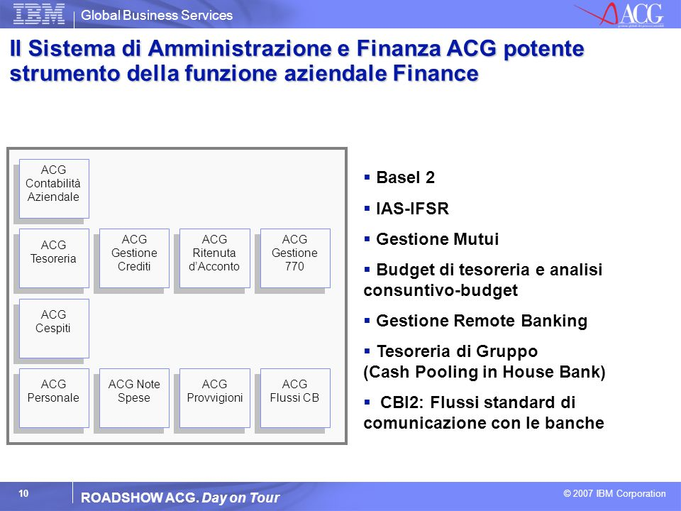 Global Business Services © 2007 IBM Corporation 10 ROADSHOW ACG. Day on Tour ACG Flussi CB Il Sistema di Amministrazione e Finanza ACG potente strumen