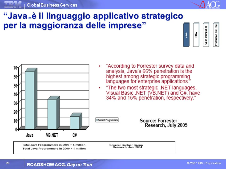 Global Business Services © 2007 IBM Corporation 20 ROADSHOW ACG. Day on Tour Java TM è il linguaggio applicativo strategico per la maggioranza delle i