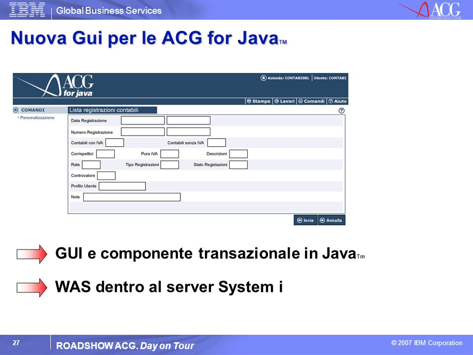 Global Business Services © 2007 IBM Corporation 27 ROADSHOW ACG. Day on Tour Nuova Gui per le ACG for Java TM GUI e componente transazionale in Java T