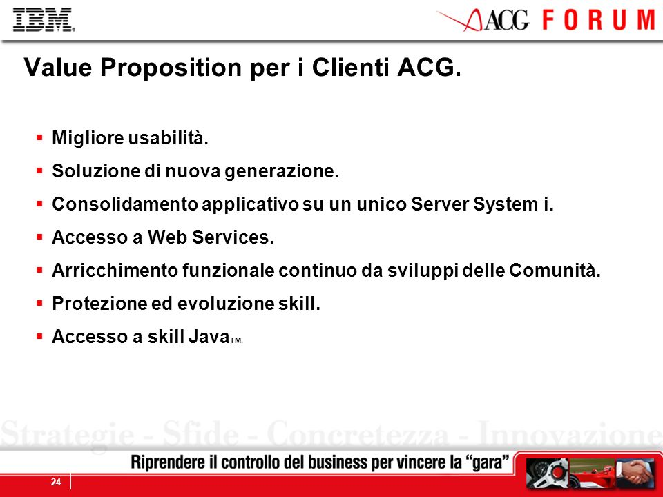 Global Business Services 24 Value Proposition per i Clienti ACG. Migliore usabilità. Soluzione di nuova generazione. Consolidamento applicativo su un