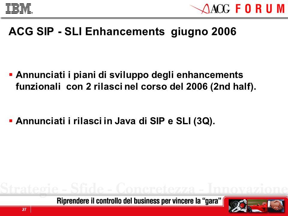Global Business Services 27 ACG SIP - SLI Enhancements giugno 2006 Annunciati i piani di sviluppo degli enhancements funzionali con 2 rilasci nel corso del 2006 (2nd half).