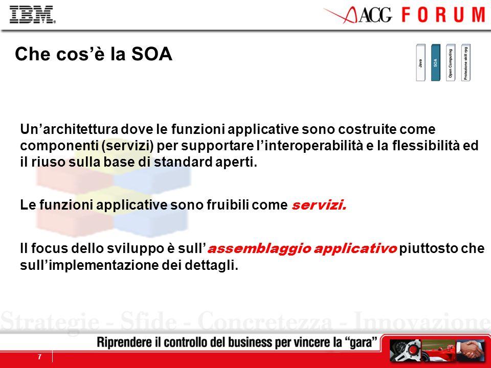 Global Business Services 7 Che cosè la SOA Unarchitettura dove le funzioni applicative sono costruite come componenti (servizi) per supportare lintero