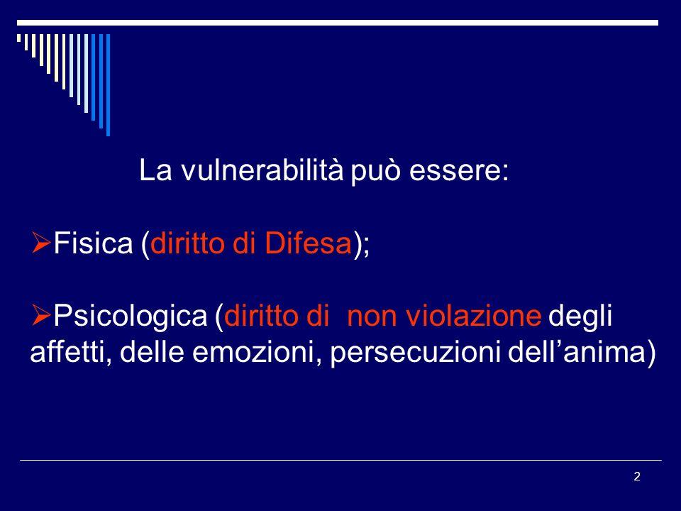 2 La vulnerabilità può essere: Fisica (diritto di Difesa); Psicologica (diritto di non violazione degli affetti, delle emozioni, persecuzioni dellanima)