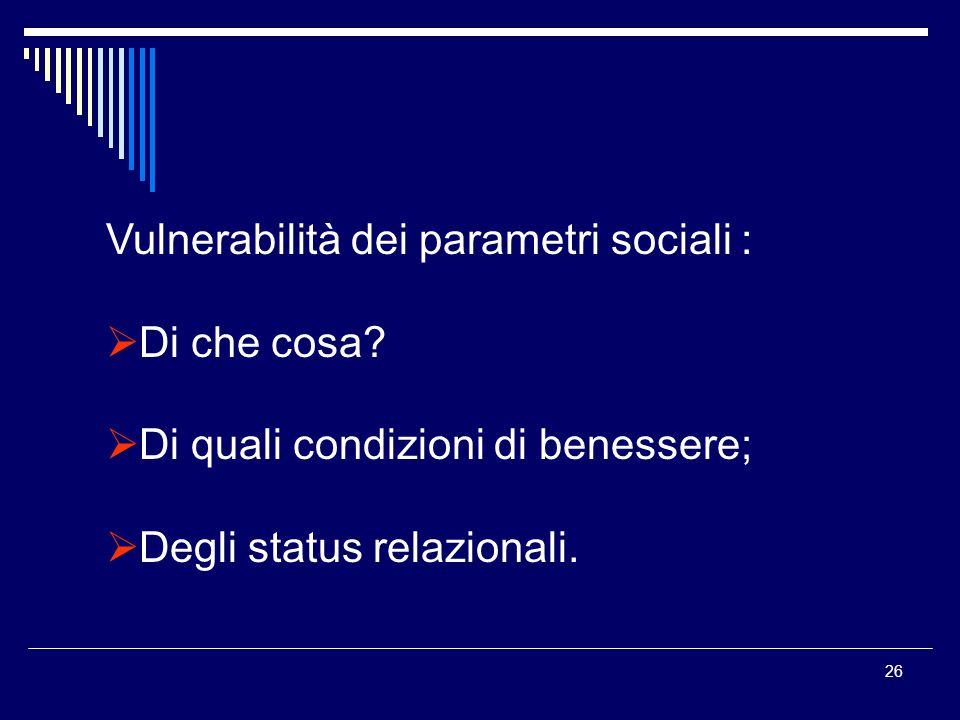26 Vulnerabilità dei parametri sociali : Di che cosa.