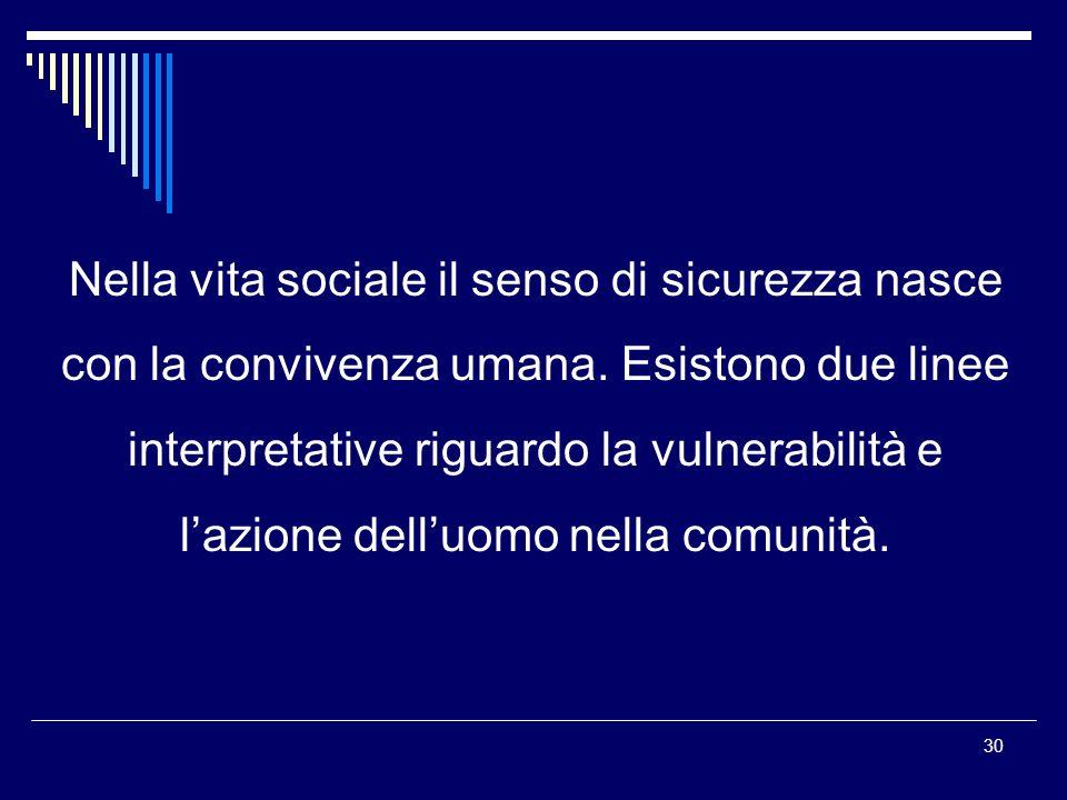 30 Nella vita sociale il senso di sicurezza nasce con la convivenza umana.