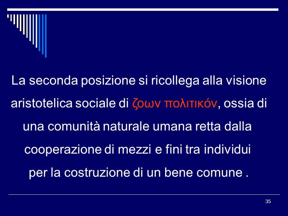 35 La seconda posizione si ricollega alla visione aristotelica sociale di ζοων πολιτικóν, ossia di una comunità naturale umana retta dalla cooperazione di mezzi e fini tra individui per la costruzione di un bene comune.