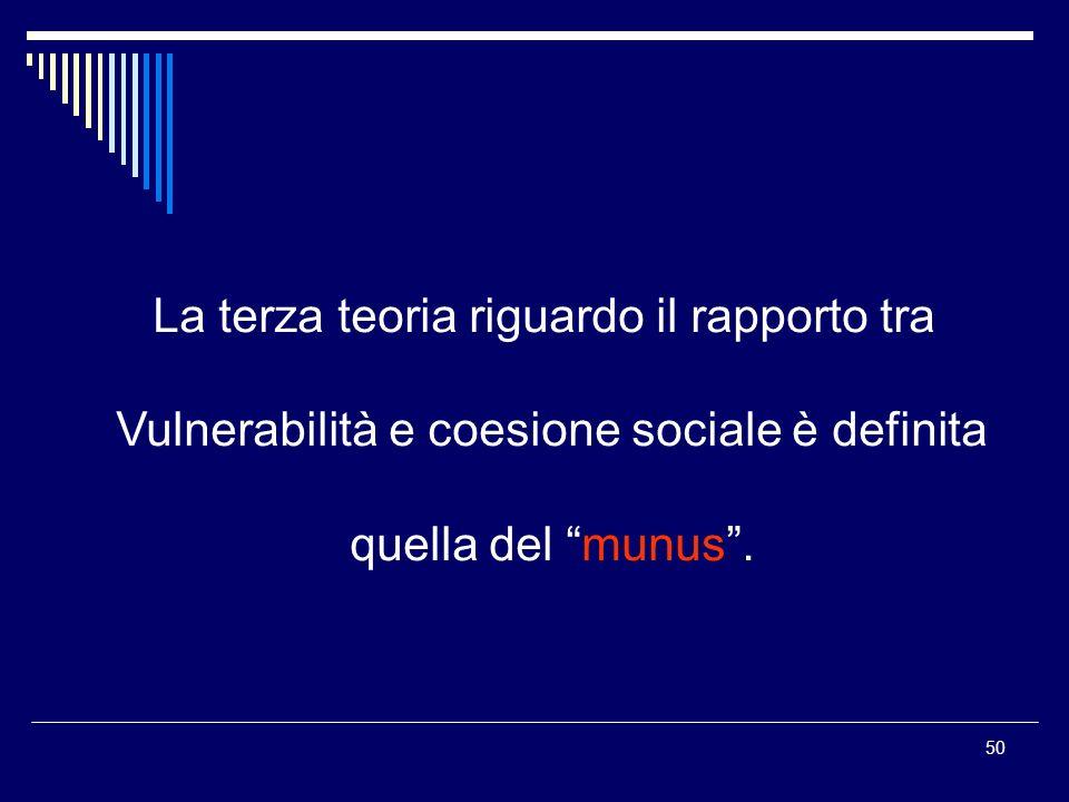 50 La terza teoria riguardo il rapporto tra Vulnerabilità e coesione sociale è definita quella del munus.
