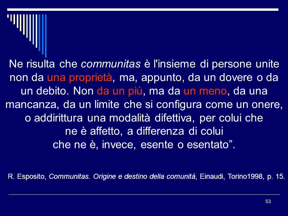 53 Ne risulta che communitas è l insieme di persone unite non da una proprietà, ma, appunto, da un dovere o da un debito.