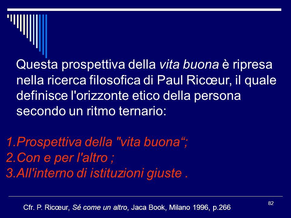 82 Questa prospettiva della vita buona è ripresa nella ricerca filosofica di Paul Ricœur, il quale definisce l orizzonte etico della persona secondo un ritmo ternario: 1.Prospettiva della vita buona; 2.Con e per l altro ; 3.All interno di istituzioni giuste.