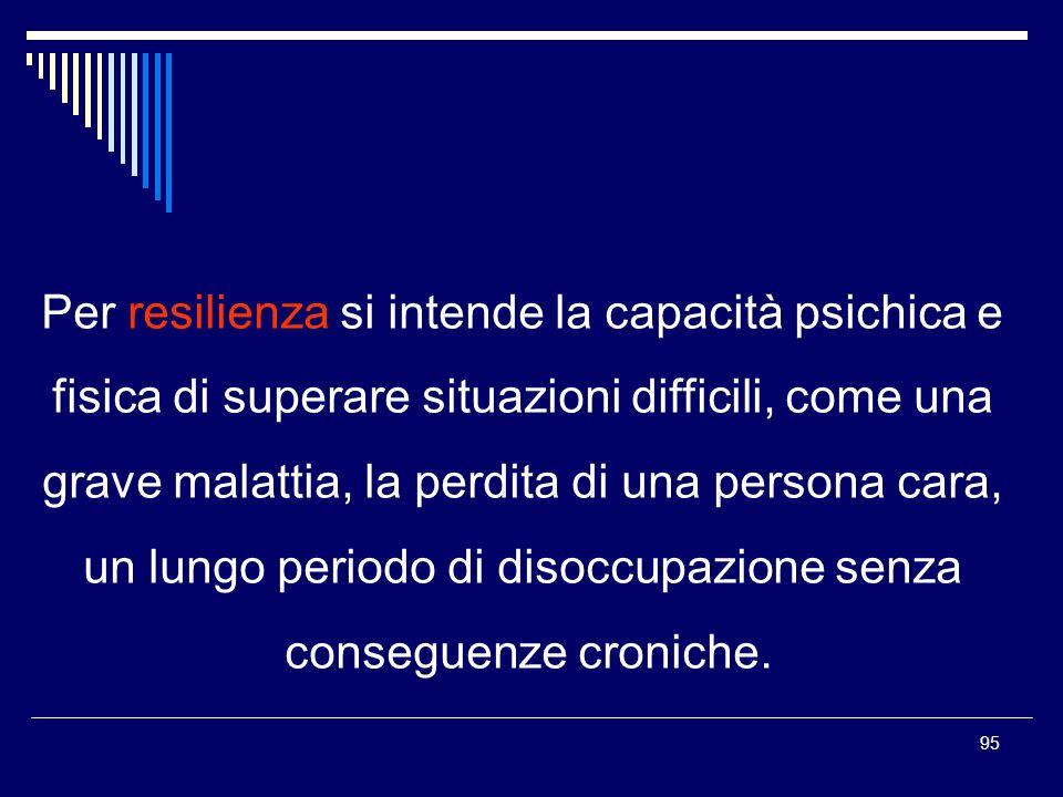 95 Per resilienza si intende la capacità psichica e fisica di superare situazioni difficili, come una grave malattia, la perdita di una persona cara, un lungo periodo di disoccupazione senza conseguenze croniche.