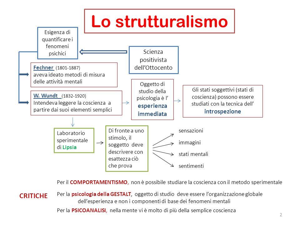 Lo strutturalismo 2 W. Wundt (1832-1920) Intendeva leggere la coscienza a partire dai suoi elementi semplici Laboratorio sperimentale di Lipsia Scienz