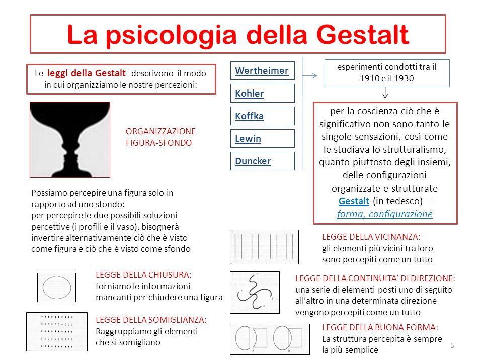 La psicologia della Gestalt 5 Wertheimer esperimenti condotti tra il 1910 e il 1930 per la coscienza ciò che è significativo non sono tanto le singole