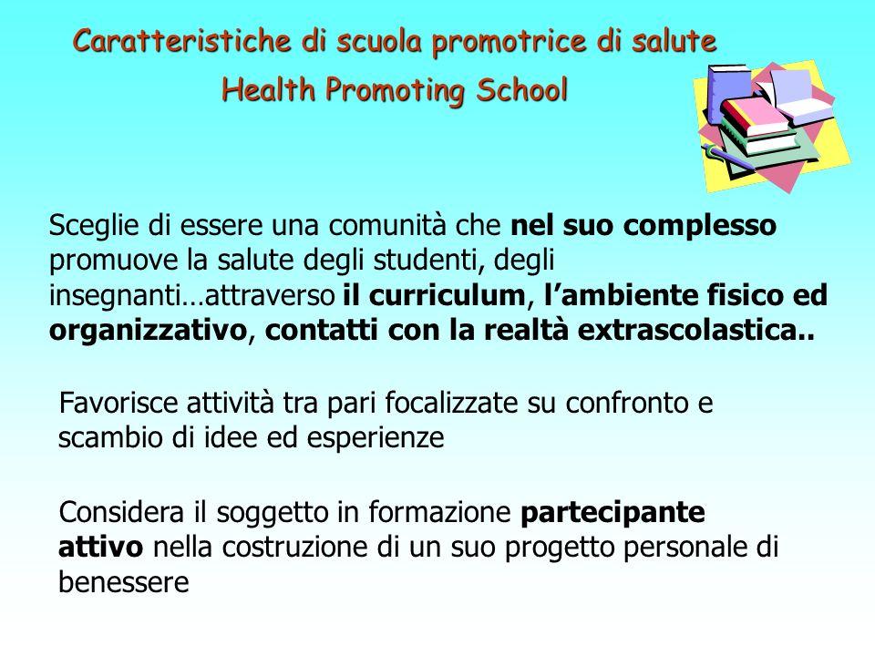 Caratteristiche di scuola promotrice di salute Health Promoting School Sceglie di essere una comunità che nel suo complesso promuove la salute degli s