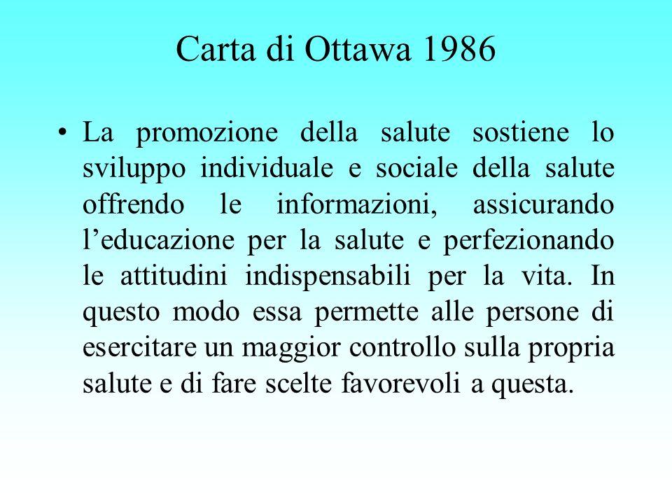 Carta di Ottawa 1986 La promozione della salute sostiene lo sviluppo individuale e sociale della salute offrendo le informazioni, assicurando leducazi