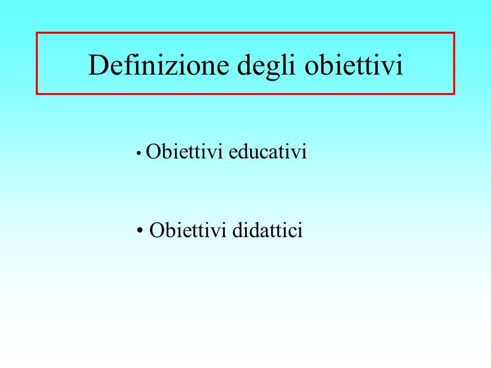 Definizione degli obiettivi Obiettivi educativi Obiettivi didattici