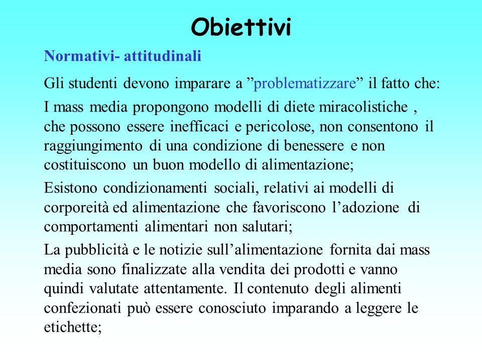 Obiettivi Normativi- attitudinali Gli studenti devono imparare a problematizzare il fatto che: I mass media propongono modelli di diete miracolistiche