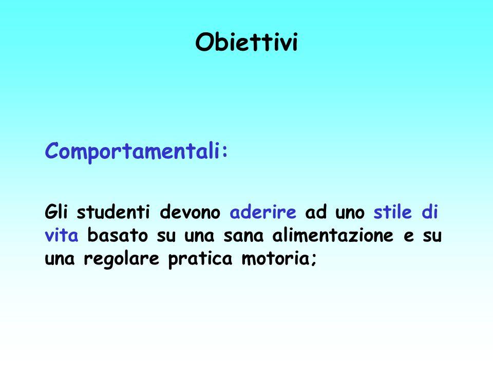 Obiettivi Comportamentali: Gli studenti devono aderire ad uno stile di vita basato su una sana alimentazione e su una regolare pratica motoria;