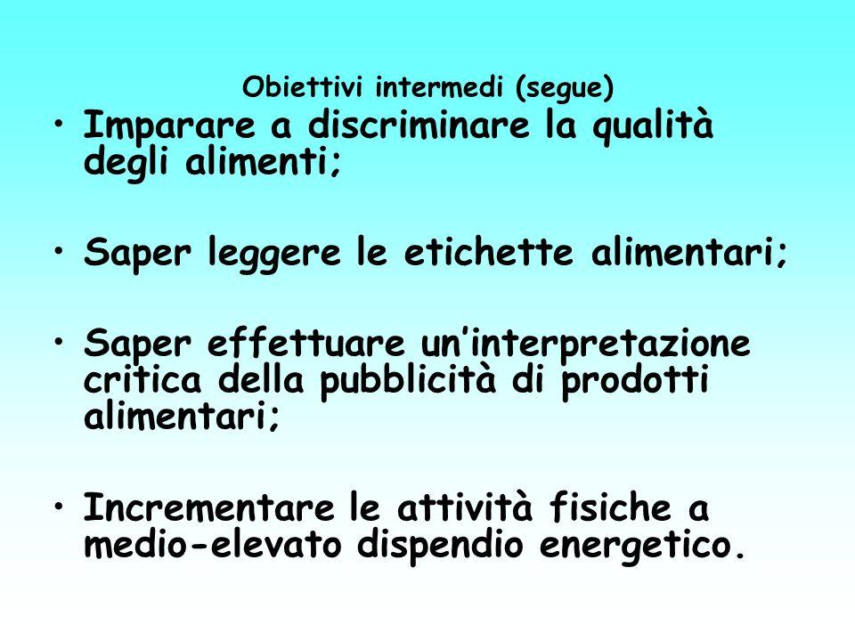 Obiettivi intermedi (segue) Imparare a discriminare la qualità degli alimenti; Saper leggere le etichette alimentari; Saper effettuare uninterpretazio