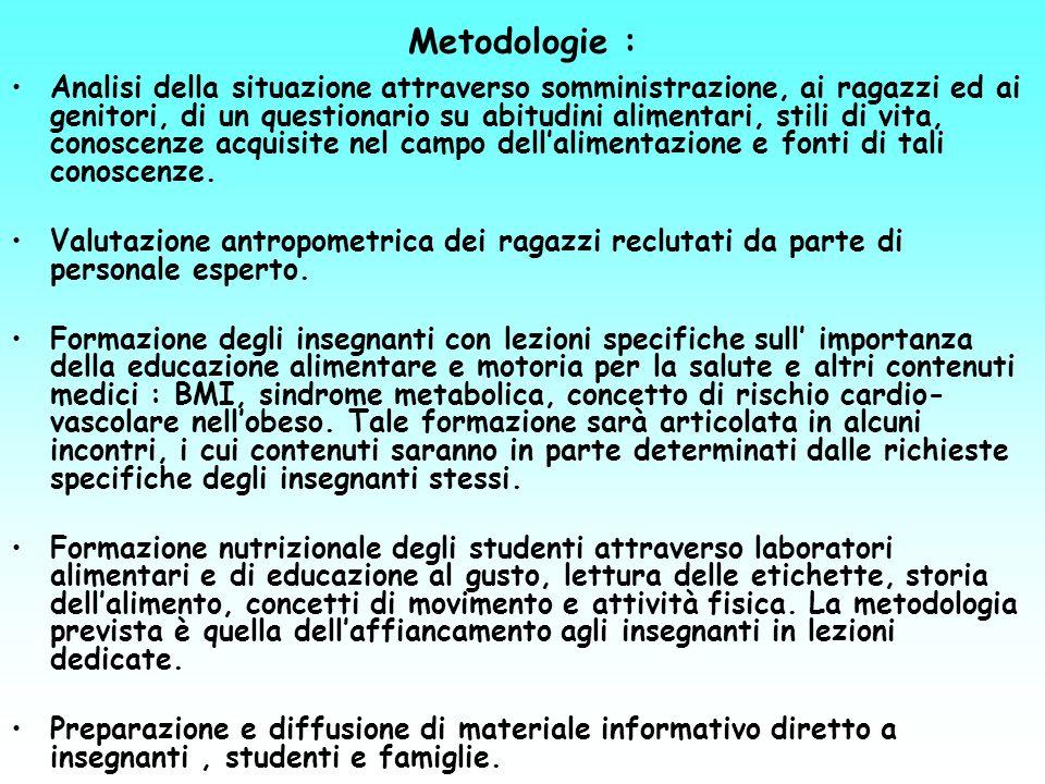 Metodologie : Analisi della situazione attraverso somministrazione, ai ragazzi ed ai genitori, di un questionario su abitudini alimentari, stili di vi