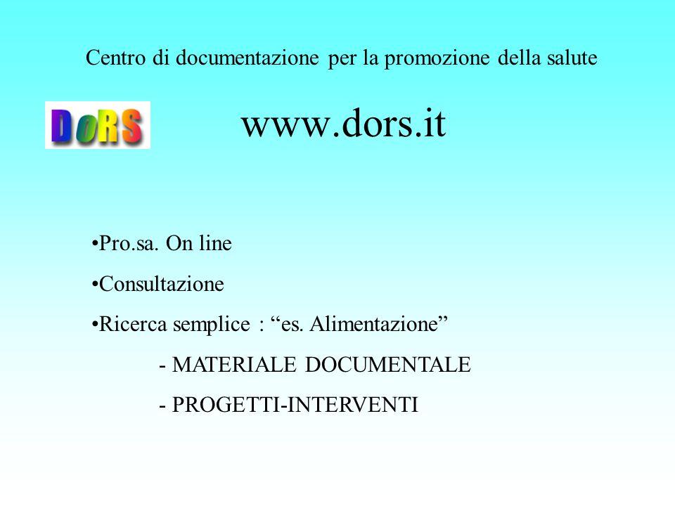 www.dors.it Centro di documentazione per la promozione della salute Pro.sa. On line Consultazione Ricerca semplice : es. Alimentazione - MATERIALE DOC