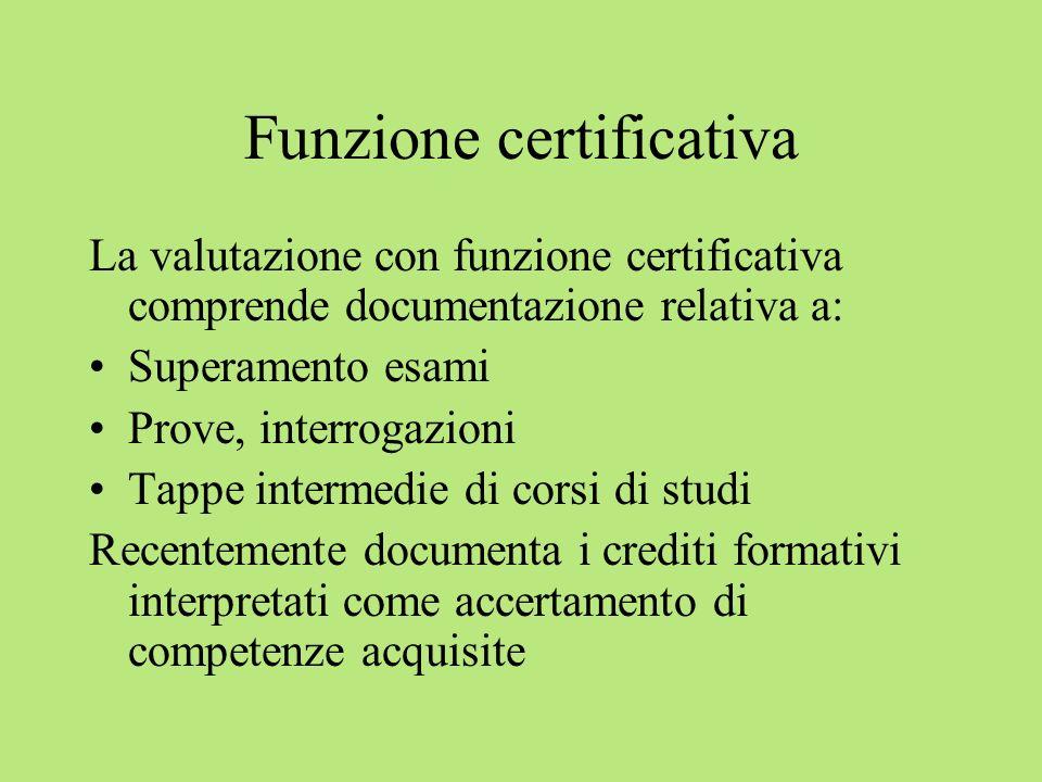 Funzione certificativa La valutazione con funzione certificativa comprende documentazione relativa a: Superamento esami Prove, interrogazioni Tappe in